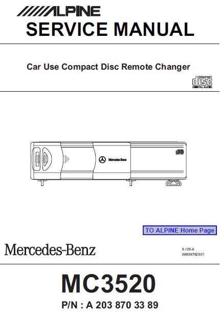 Alpine Mrdm1001 Mono Power Amplifier Service Manual