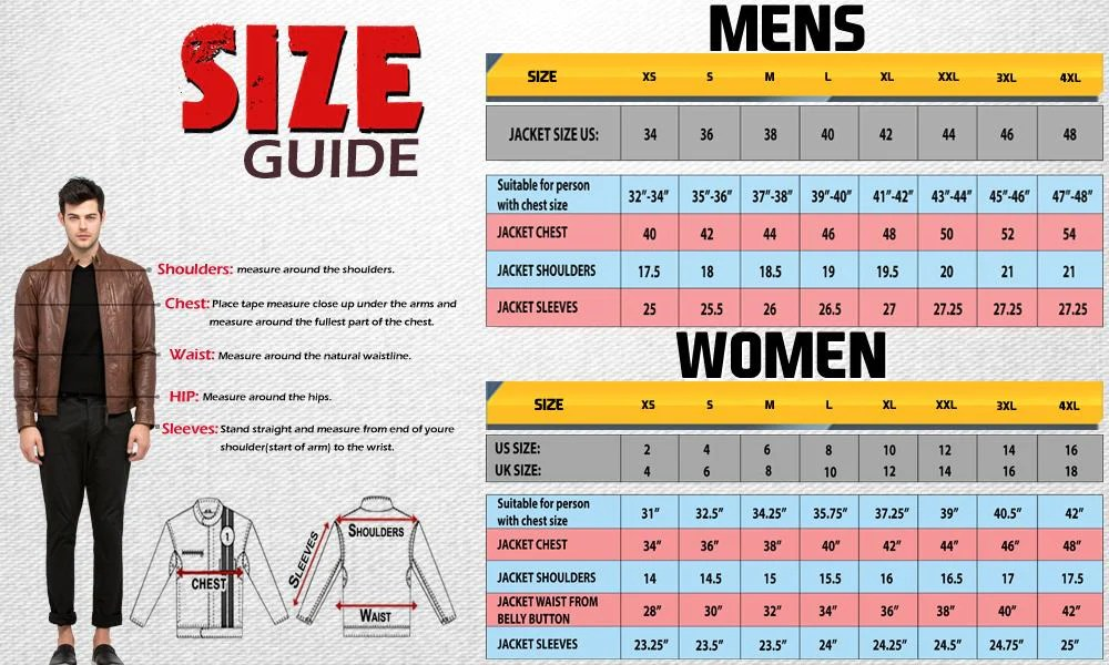 Jacket size chart also buy womens superhero wonder woman leather red lucajackets rh