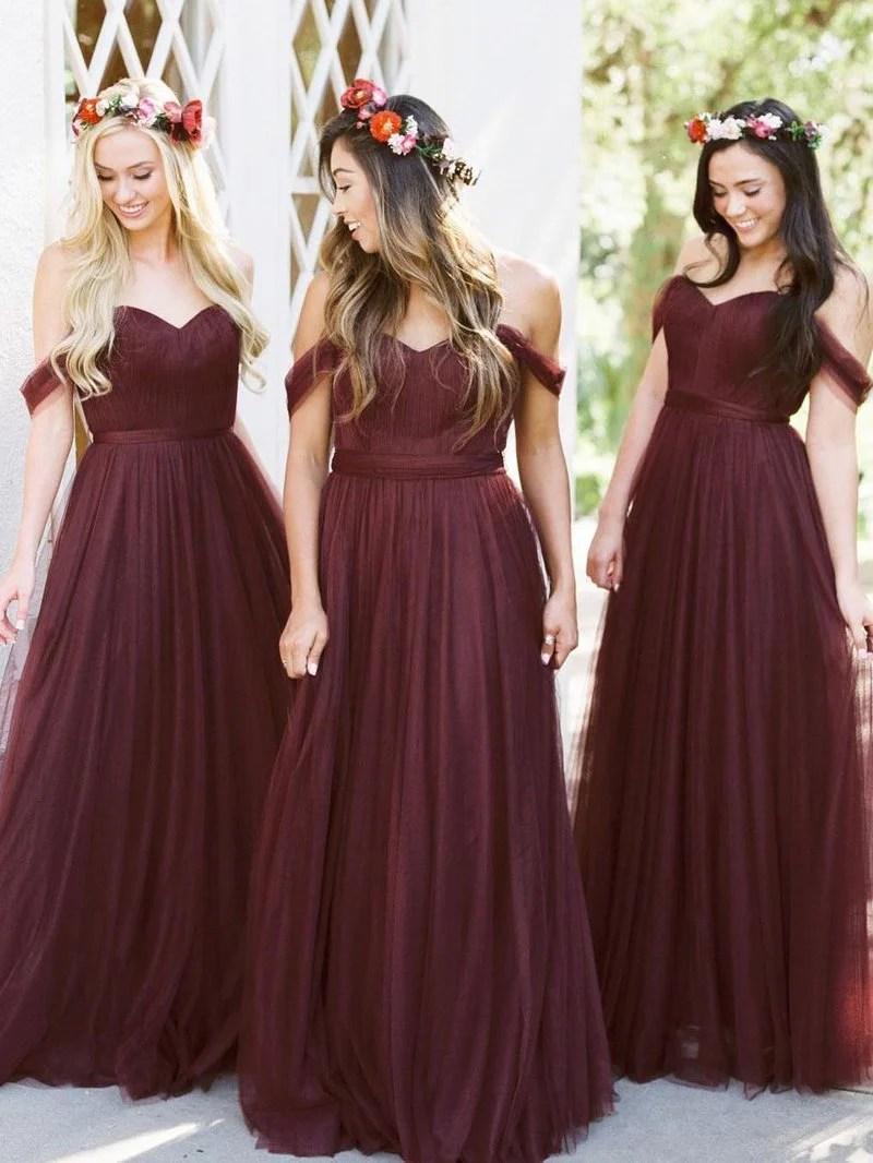 2018 Burgundy Bridesmaid Dresses Cheap Long