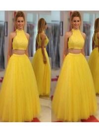 2018 Two Piece Yellow Prom Dress Cheap Long Prom Dress # ...