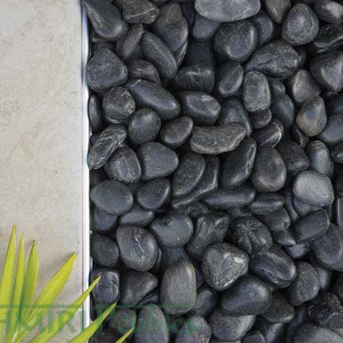polished black pebbles redback
