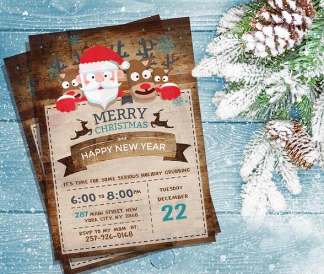 Merry Christmas Invitations Merry Christmas Digital Printable Invitations Merry Christmas Thank You Card