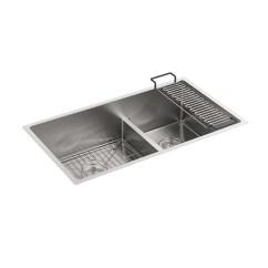 Kitchen Sink Rack Water Filter Kohler K 5284 Strive Under Mount Double Bowl With