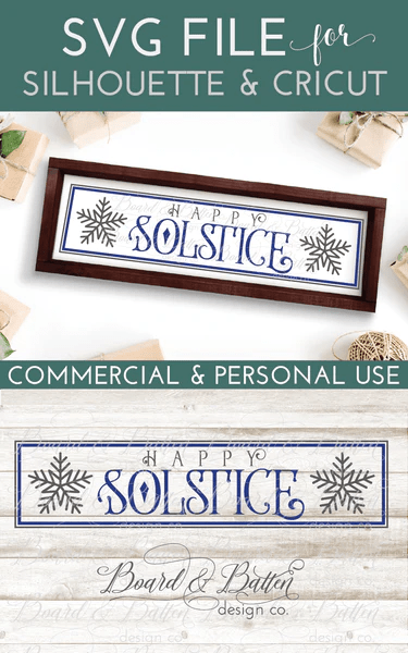 Happy Winter Solstice 6x24 SVG File for Wood Tiles  Board