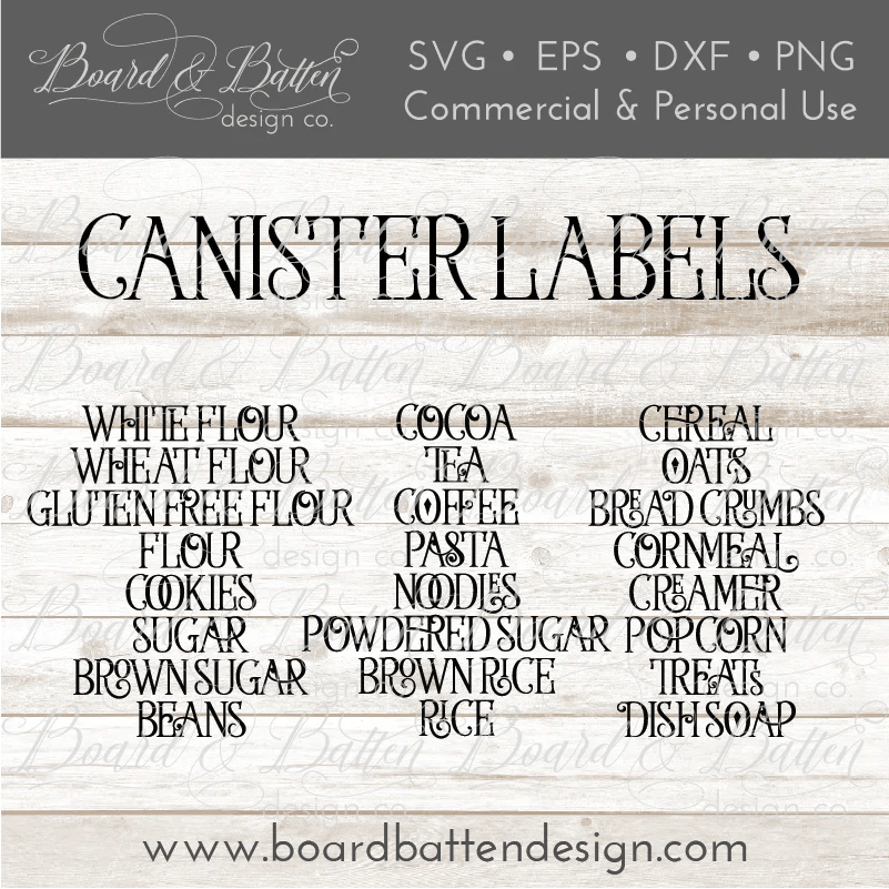 Download Vintage Farmhouse Style Canister Label SVG Set - Board ...