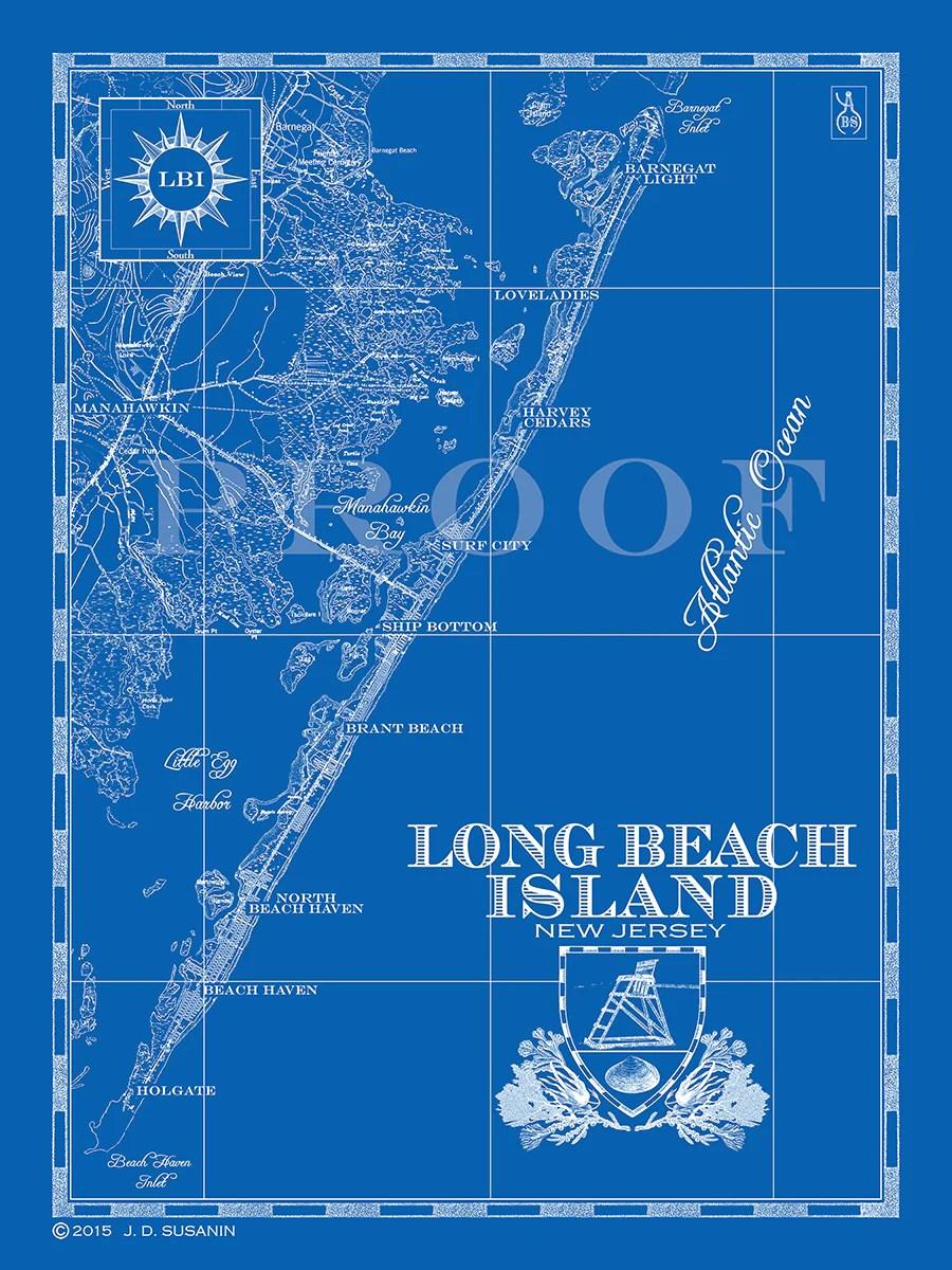 Map Of Long Beach Island Nj : beach, island, Beach, Island,, Custom