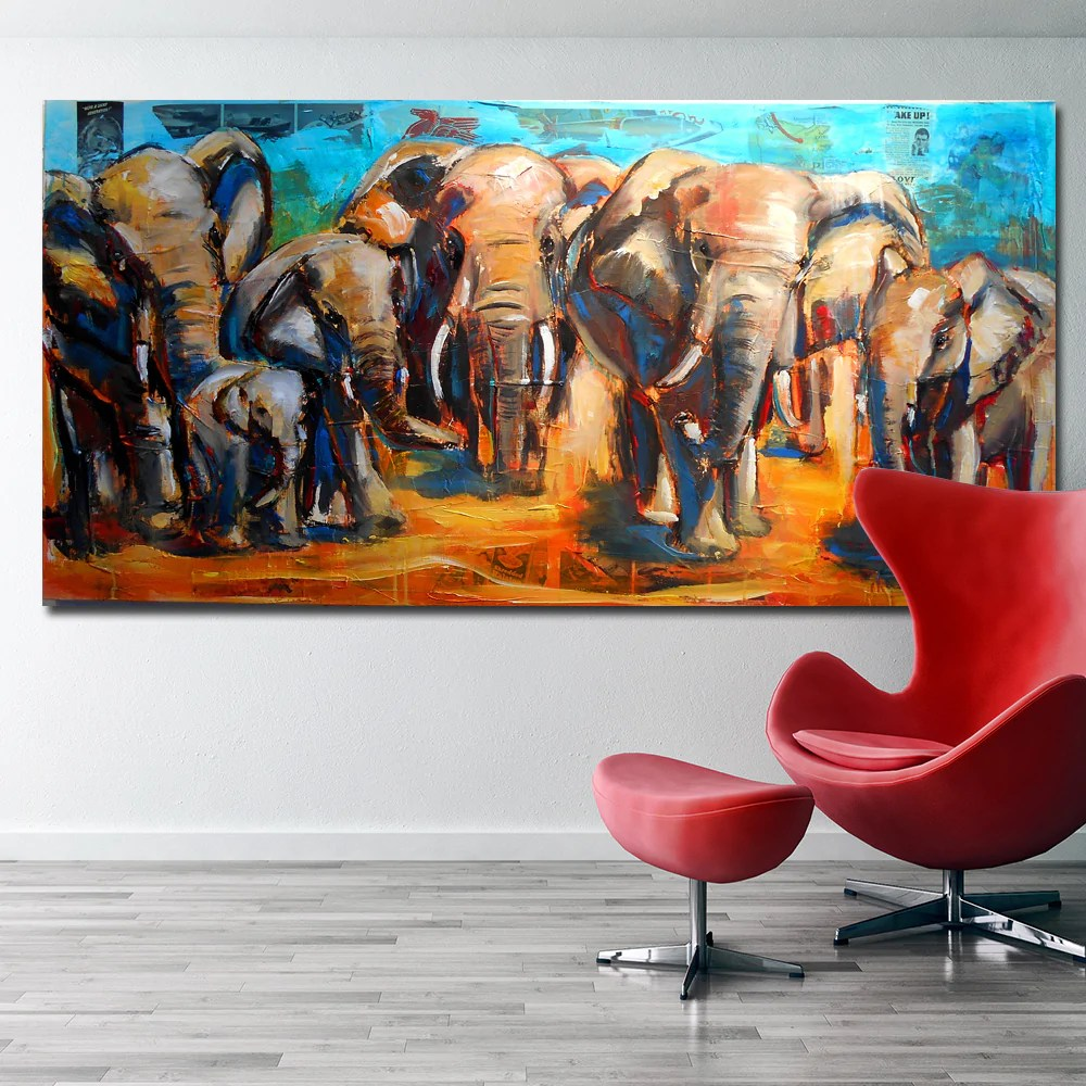 animal art african elephant