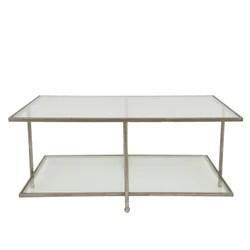 romana silver leaf 2 shelves coffee table