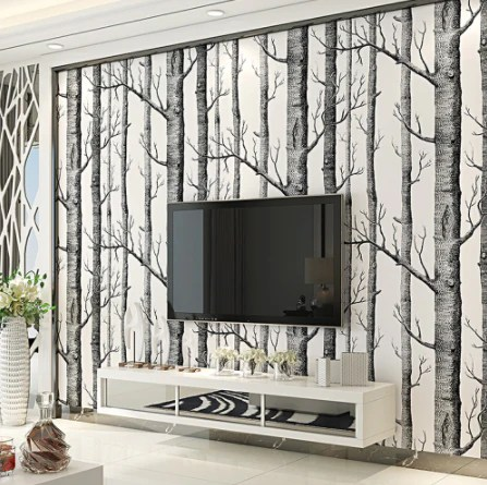 wallpaper living room wall colour schemes for rooms with brown leather sofa bedroom modern design paper roll rustic forest woods
