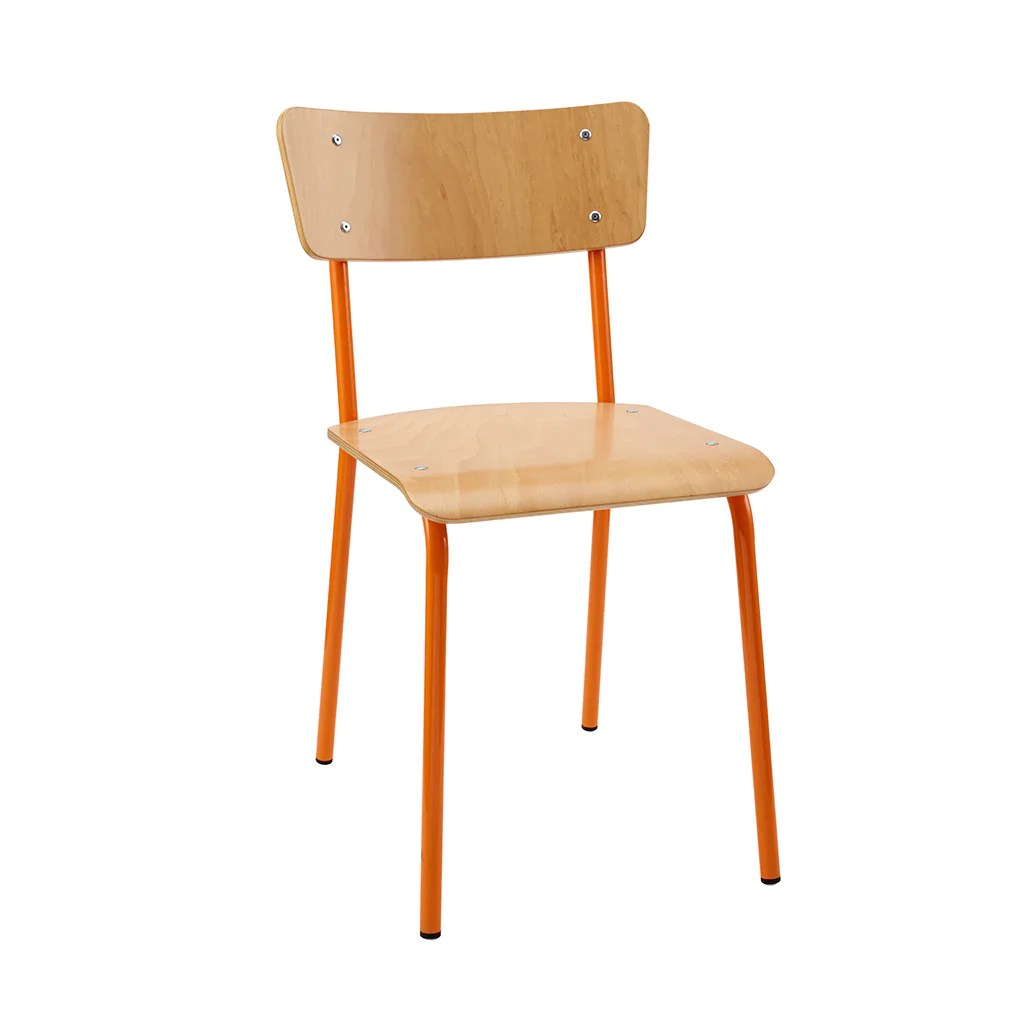 Vintage School Chairs Vintage Industrial Classic School Chair In Natural Beech And Orange