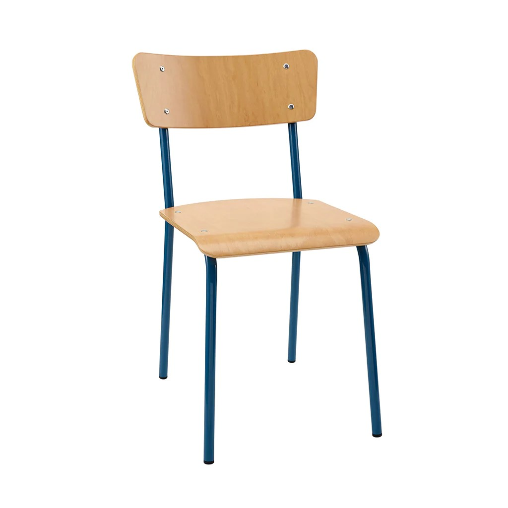 Vintage School Chairs Vintage Industrial Classic School Chair In Natural Beech And Blue