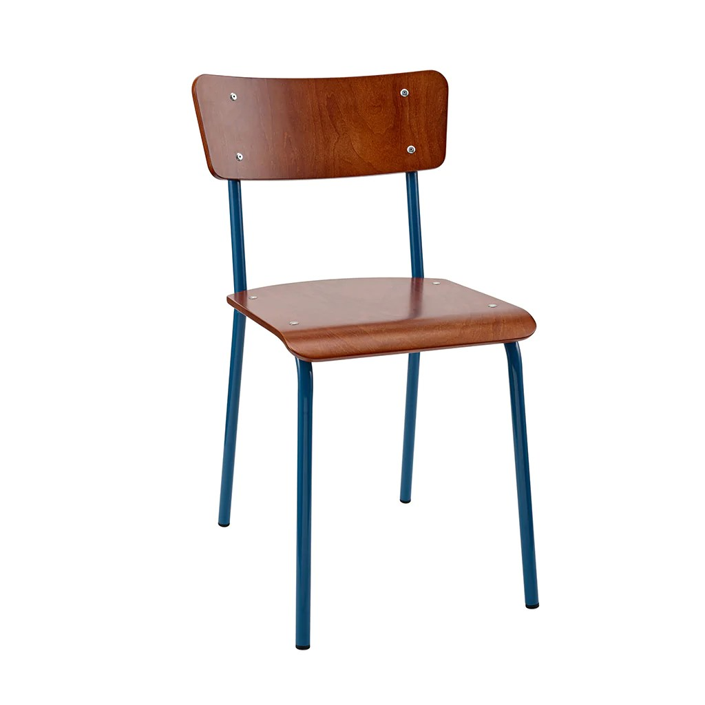 Vintage School Chairs Vintage Industrial Classic School Chair In Rich Mahogany And Blue