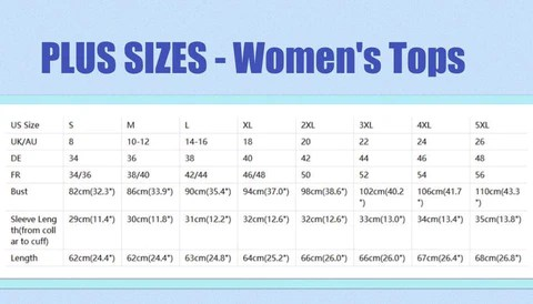 Plus size women   sizing chart for tops also information northern sun boutique rh northernsunboutique