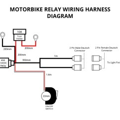 Wiring Diagram For Relay Spotlights Car Electric Fan Motorbike Harness 2 X 10w Lights