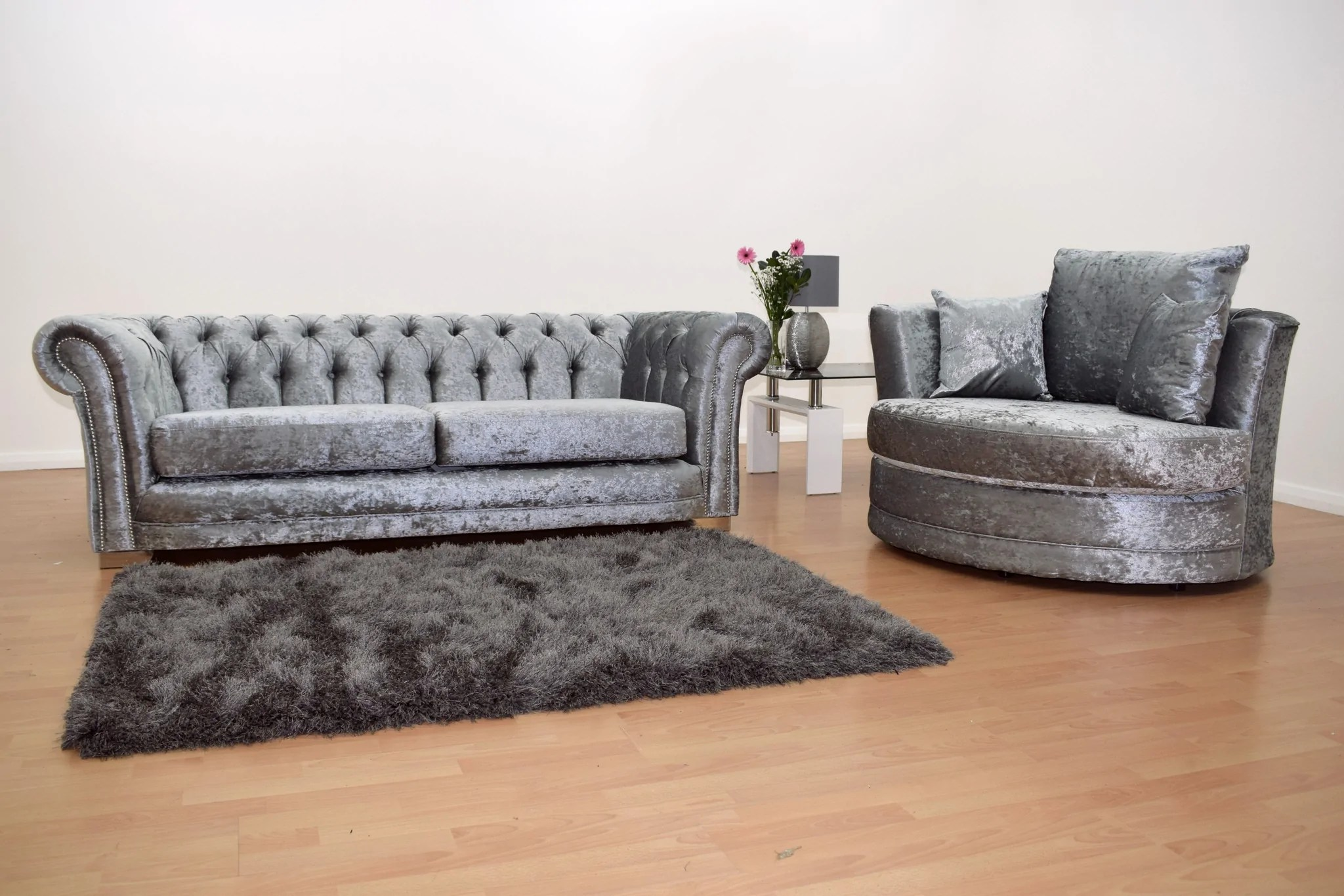 black 3 seater sofa and cuddle chair cheap white leather sofas chesterfield with velvet silver the