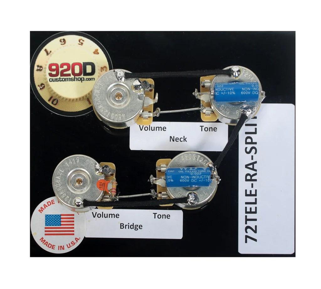 hight resolution of fender 72 deluxe tele telecaster 72 guitar wiring harness kit usa split shaft