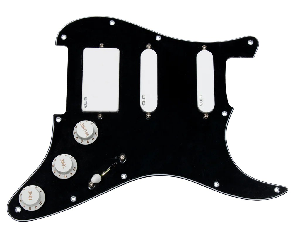 hight resolution of 920d strat loaded pickguard emg sa sa 81 hss black white