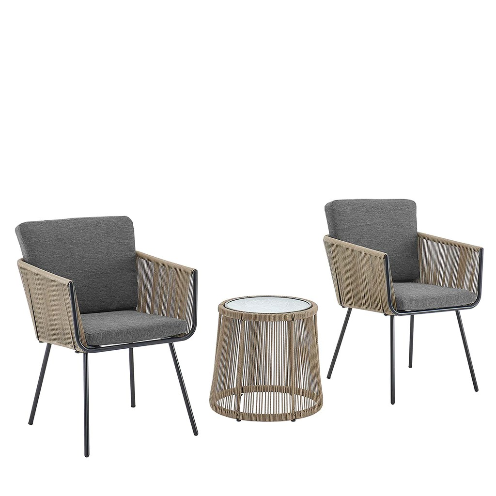 3pcs patio outdoor rattan furniture coffee table set with cushioned chairs grey