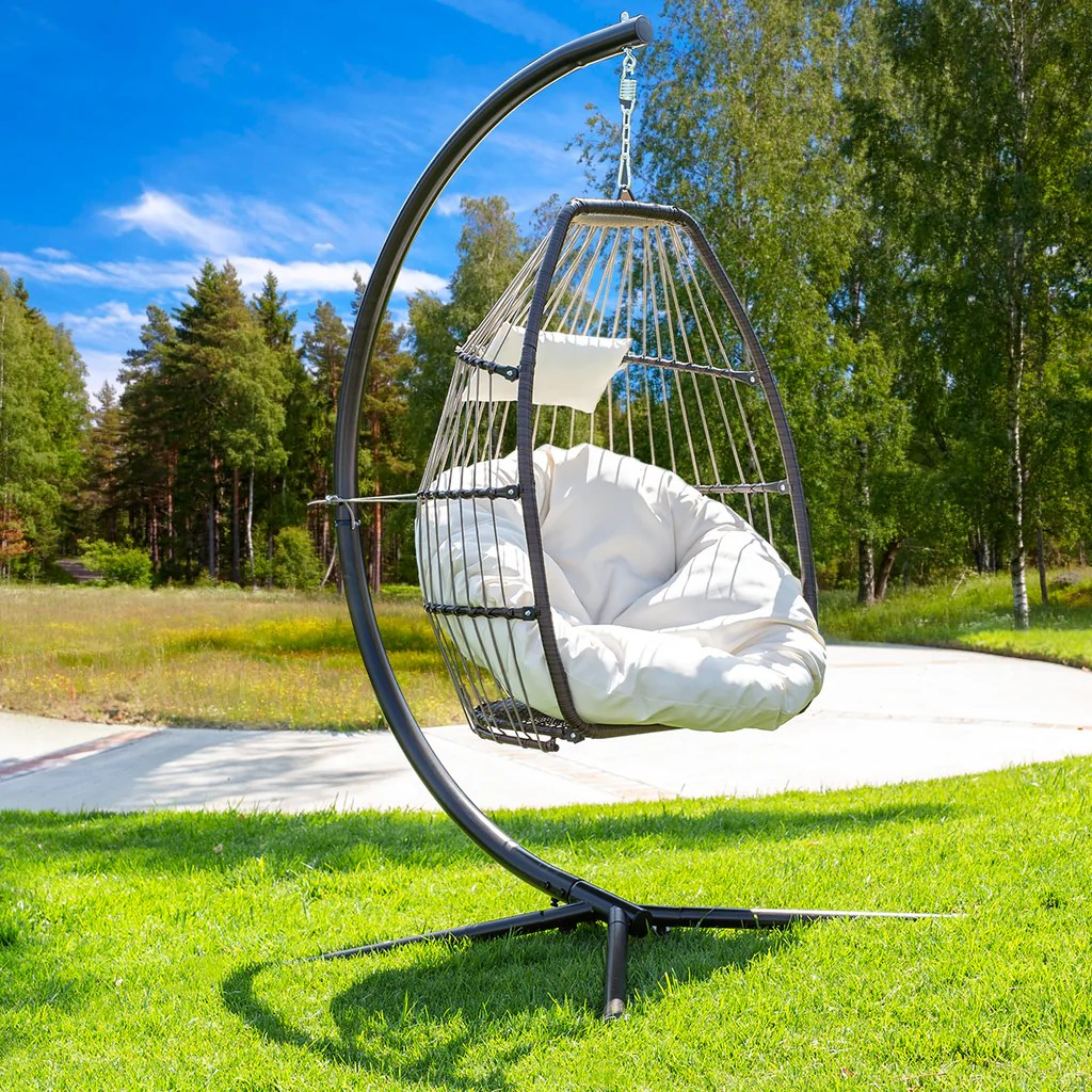 premium hanging chair swing chair patio egg chair uv resistant fluffy cushion large basket porch lounge cream