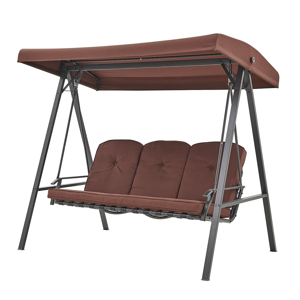 3 person steel outdoor patio porch swing chair with adjustable canopy rocker brown