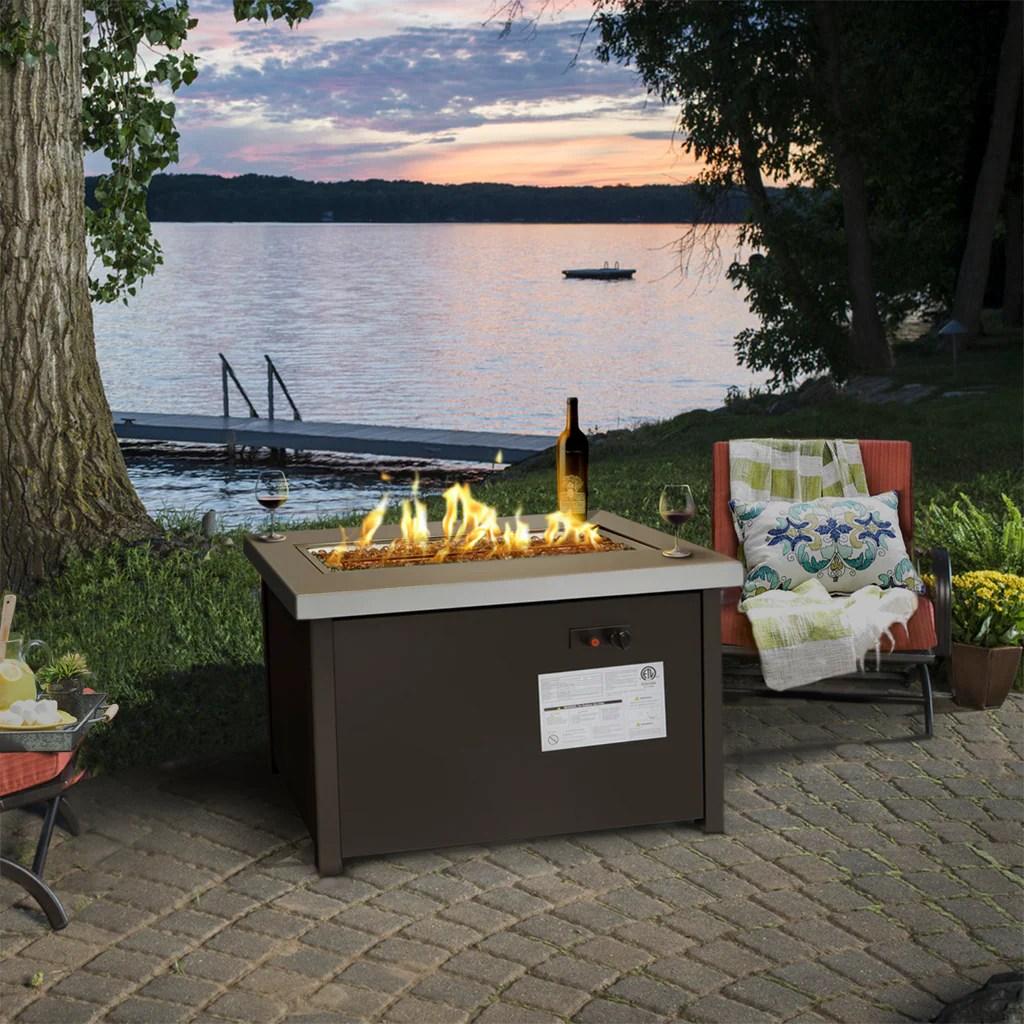 lpg fire pit outdoor gas fireplace propane heater patio backyard deck w cover