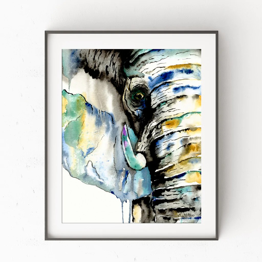 elephant colorful watercolor painting