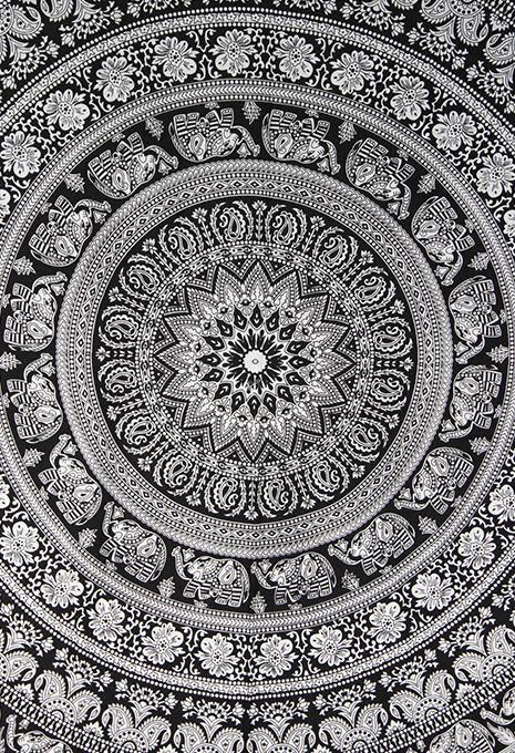 black white mandala bedspread