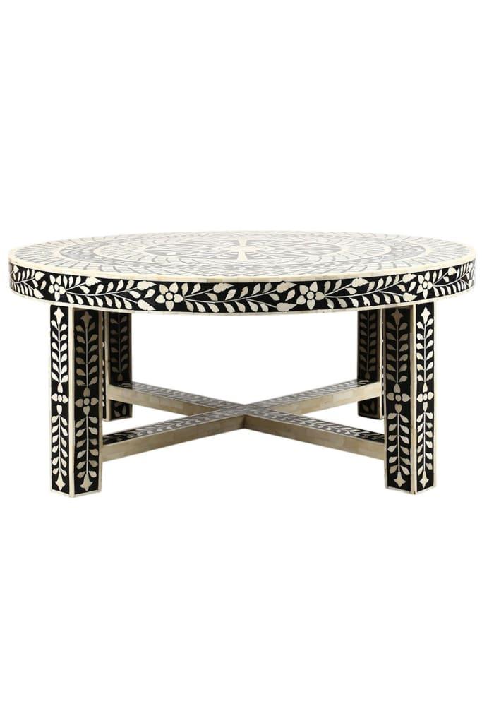 Floral Bone Inlay Coffee Table Furniture Ishka