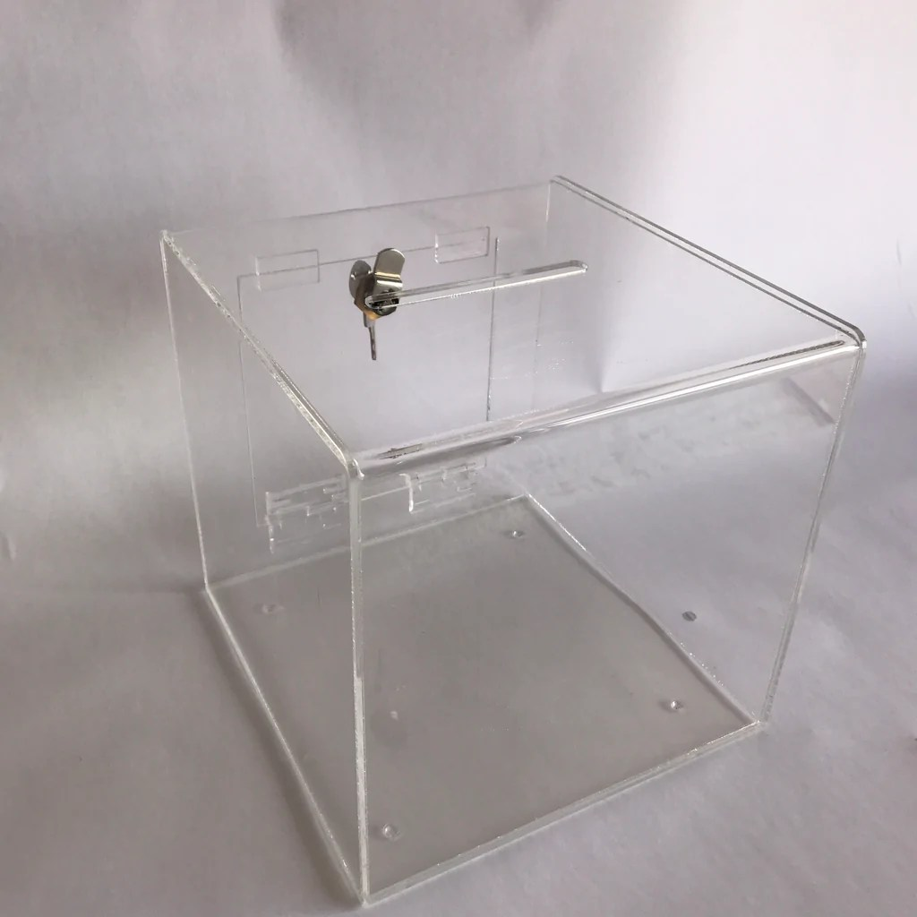 Ballot Box. Collection. suggestion Box clear acrylic with Lock & 2 Key – in-storedisplays