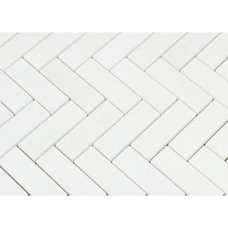 thassos white marble 1x3 herringbone mosaic tiles