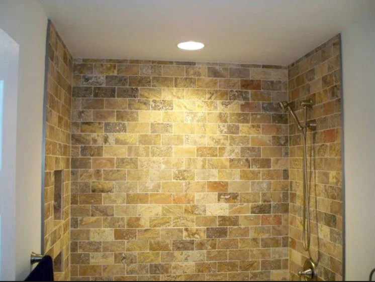 scabos travertine 3x6 tumbled subway brick tile sample