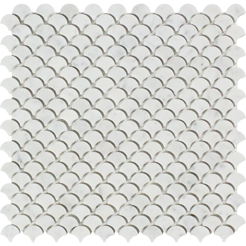 carrara white italian carrera marble fan fish scale mosaic tile sample