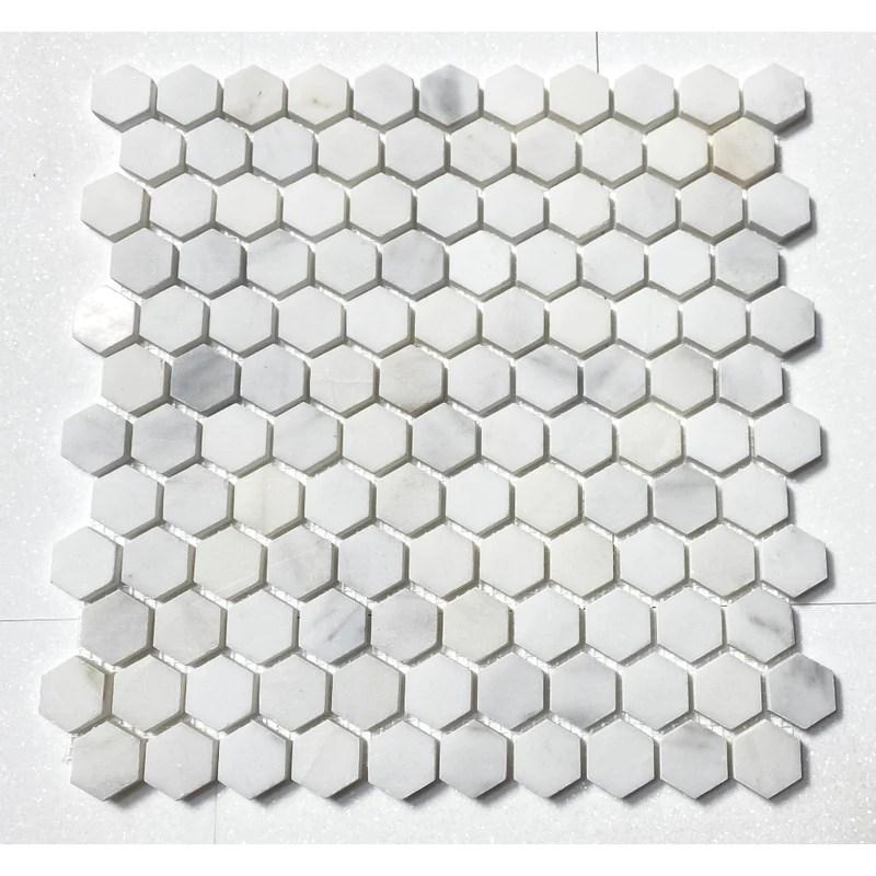 statuary white marble oriental white 1 hexagon mosaic tile