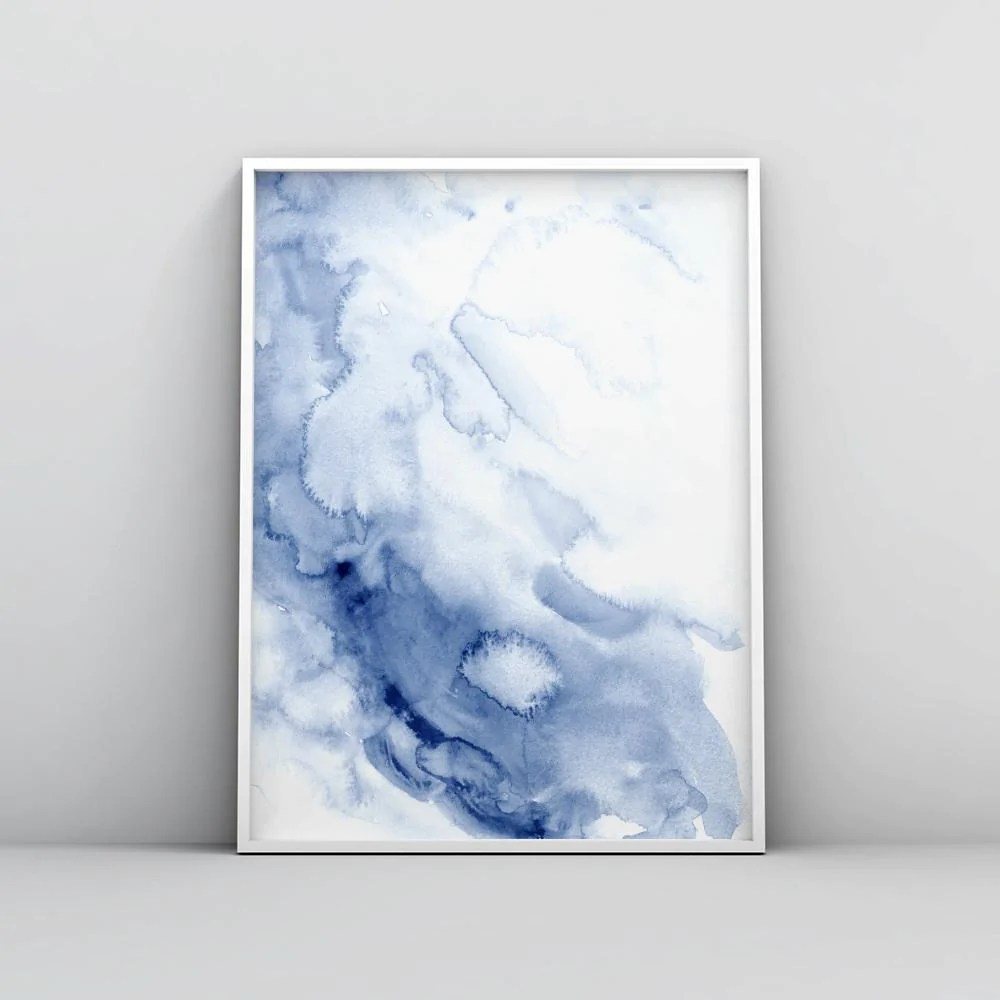 abstract blue ink wash