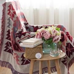 Sofa Cover Blankets Ella Reversible Woven Pattern Tassels Multi Purpose Throw Load Image Into Gallery Viewer