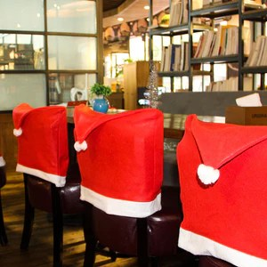 chair cover christmas decorations posture nz new santa red hat covers dinner xmas cap backrest deco coating