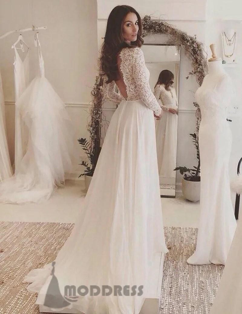 White Long Sleeve Formal Dresses