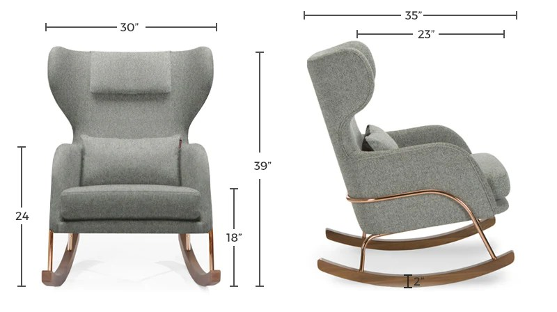 Modern Nursery Rocker - Jackson Nursery Rocker Chair Dimensions