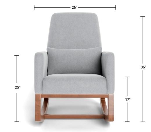 Modern Nursery Glider Chair - Luca Glider Chair Dimensions Front View