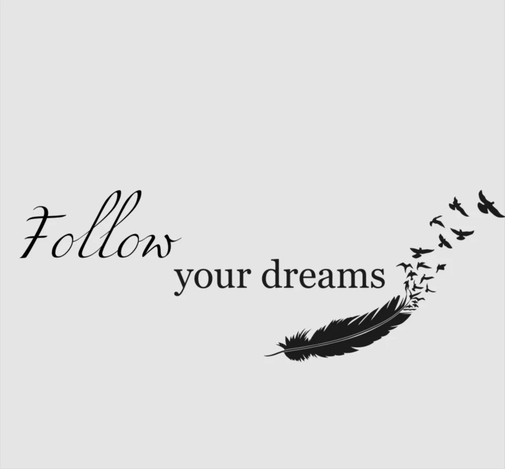 FOLLOW YOUR DREAMS FEATHERS QUOTE Sizes Reusable Stencil
