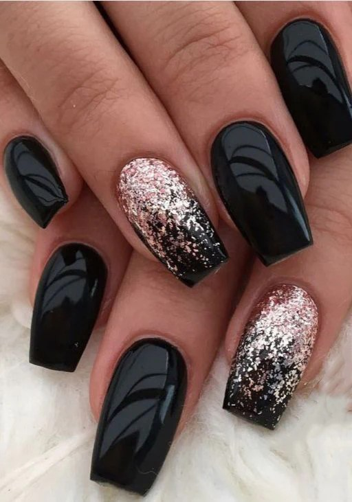 trending black nails art manicure