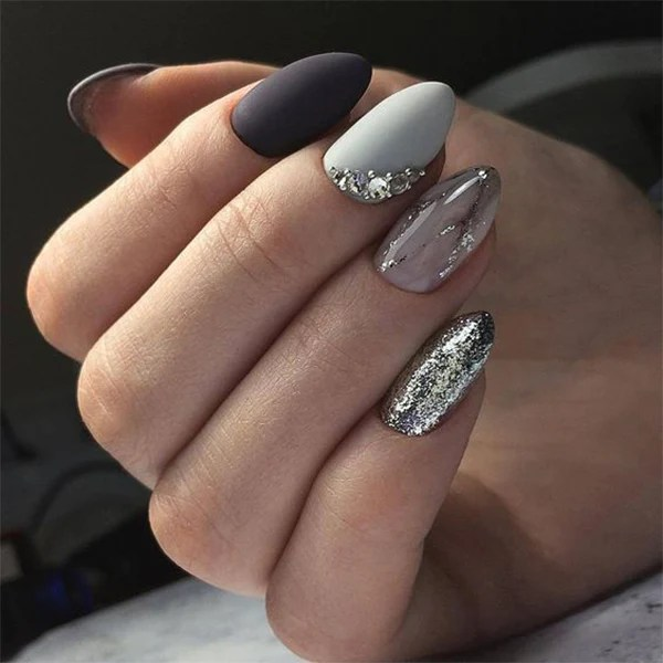 almond marble nails ideas