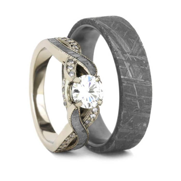 Meteorite Wedding Ring Set Moissanite Engagement Ring And Band  Jewelry by Johan