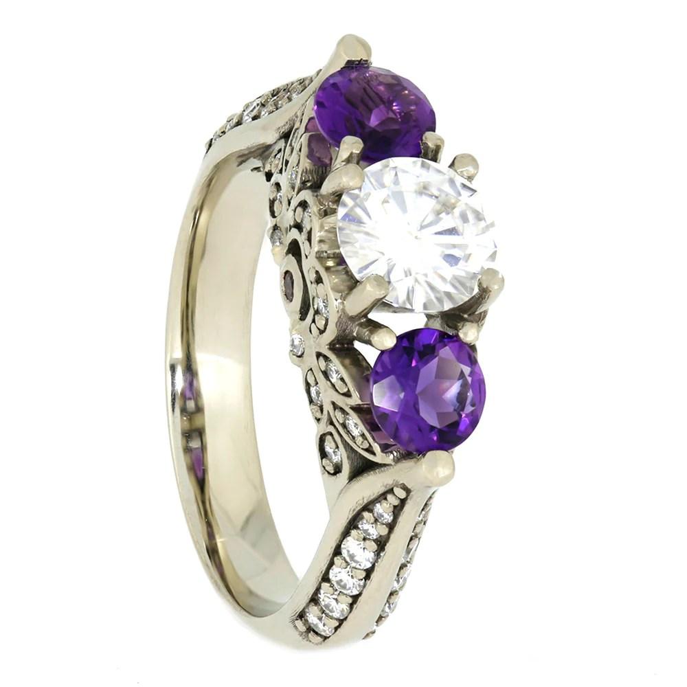 Moissanite And Amethyst Engagement Ring 10k White Gold