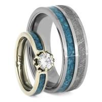 Turquoise Wedding Ring Set, Engagement Ring With Men's ...
