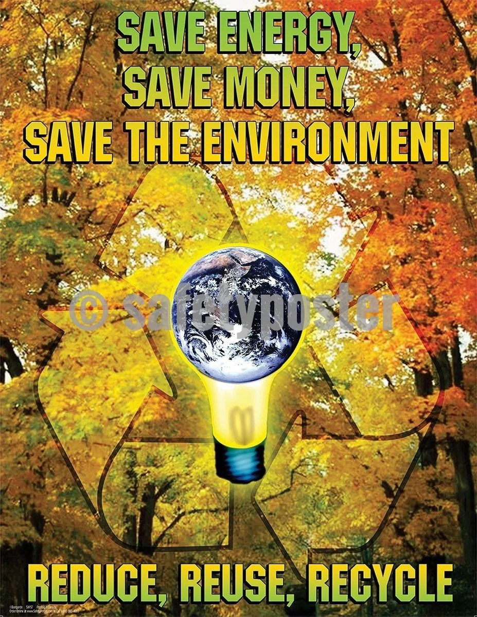 Save Energy Save Money Save The Environment Safety Poster
