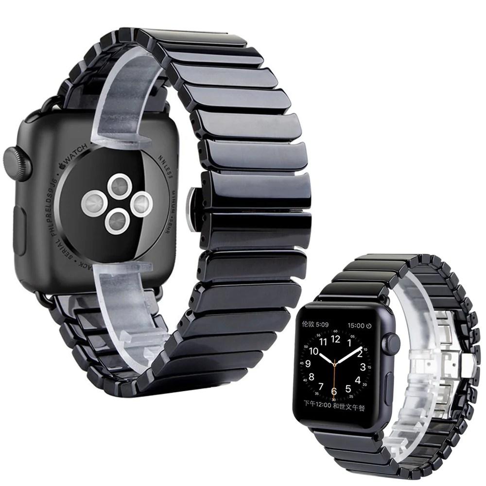 Apple iWatch 42mm Luxurious Ceramic Bracelet Titanium Black Strap (Wat – gobizarre.com