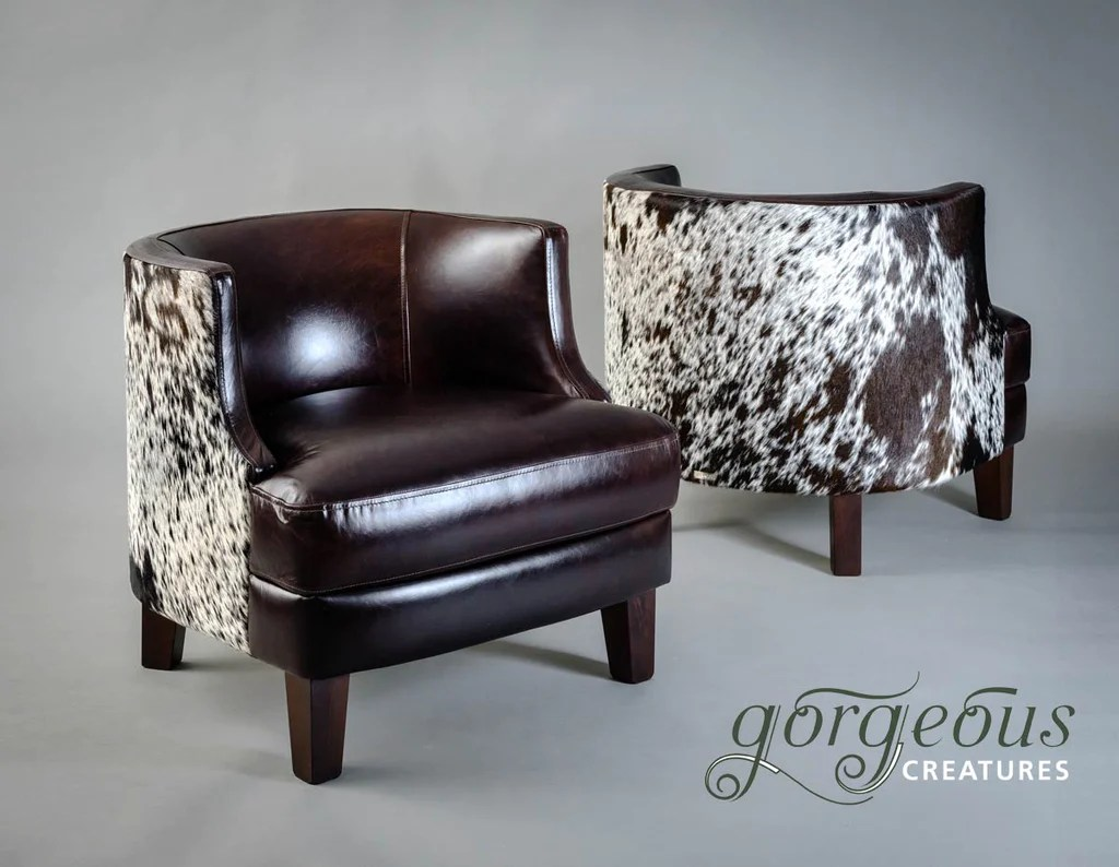 Cow Hide Chair Leather Cowhide Feature Tub Chair Glossy Leather