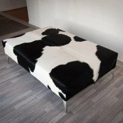Black And White Cowhide Chair Ostrich Folding Chaise Lounge Ottoman Furniture Southland New Zealand With Metal Legs 140x90x40cm Tap To Expand