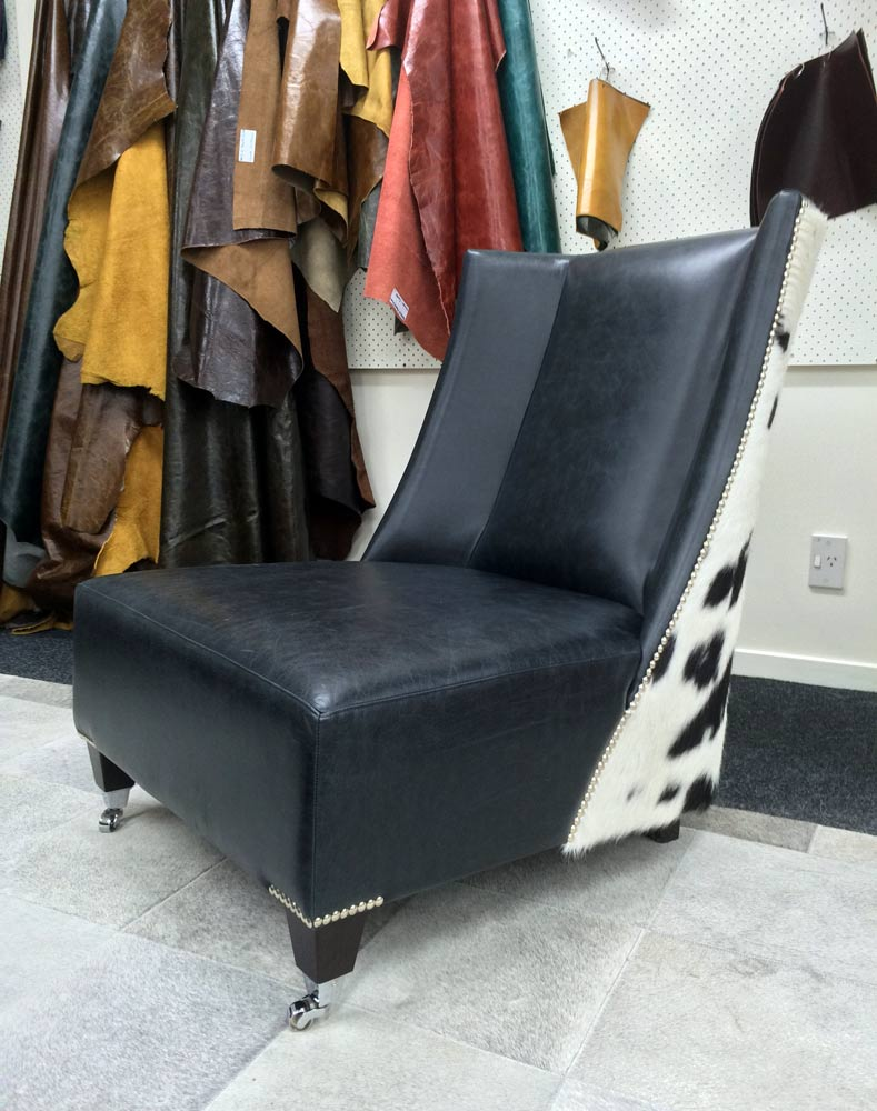 Cow Hide Chair Leather Cowhide Feature Wing Back Chair